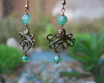 Antique Brass Octopus Earrings
