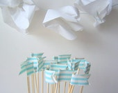 HOORAY. cupcake topper FLAGS (12) lovely party decorations