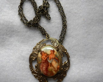 Painted Cameo Necklace
