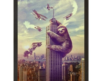 Sloth, Animal,  Slothzilla Print 18x24