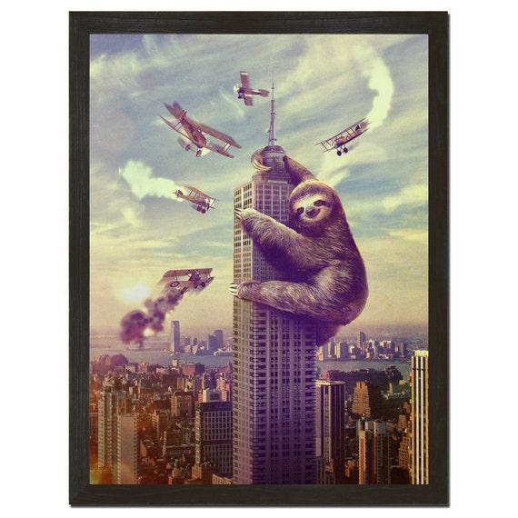 Sloth, Animal,  Slothzilla Print 18x24