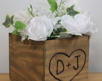 Rustic Wedding Wooden Centerpiece Woodland flower box Country Barnwood style Planter Personalized Heart with Initials