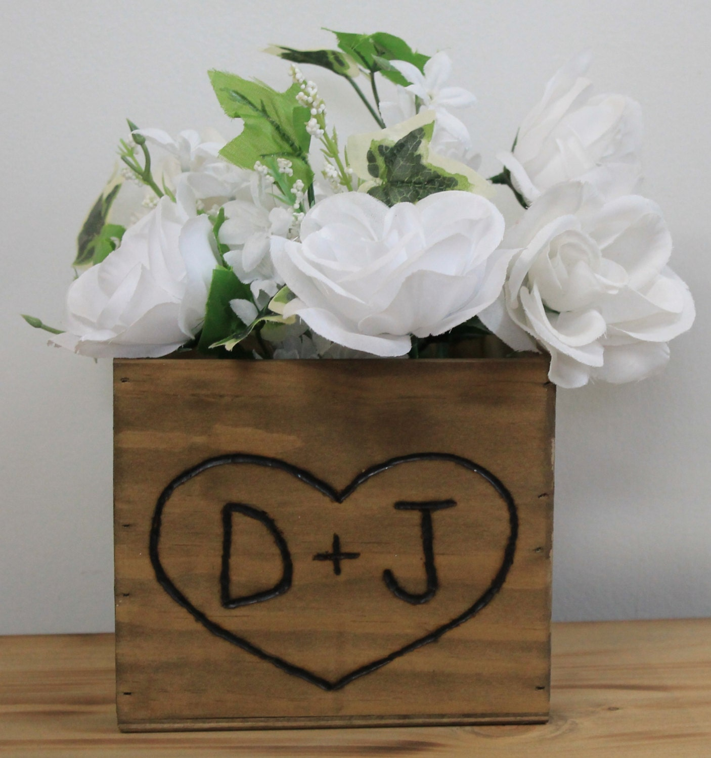 Wedding accessories ideas 12 rustic wedding wooden country barnwood box planter centerpiece flowers personalized initials junglespirit Images