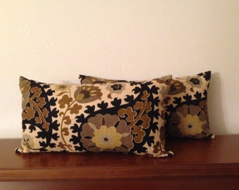 Decorative-Accent-Throw - Pillow Cover-Free US Shipping- Set of Two 12 x 22 inch Paisley Chocolate Brown,Light Brown, Black,  Cream