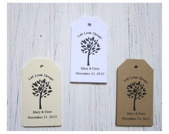 Wedding Favor Tags, Let Love Grow, Personalized Gift Tags, Bride, Groom Thank You Tags, Seed Favor Tags, Flower Seed Tags, Rustic Gift Tags