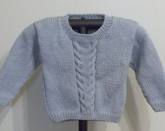 Toddler Boy/Girl's Cabled Pullover - 18 Months - Silver Blue - Ready to Ship