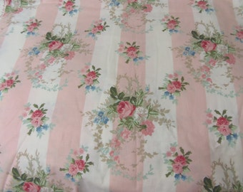 """Laura Ashley Fabric 18"""" X 27"""" Pink Roses Rare Vintage  Isabelle Rose HTF"""