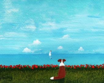 Sheltie Collie Dog folk Art PRINT Todd Young painting OCEAN SKY