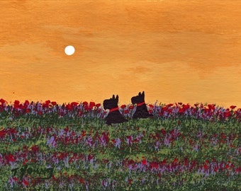 Scottie Dog folk art PRINT of Todd Young painting Two Scotties