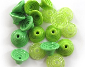 Handmade Lampwork Beads Glass, Lampwork beads set, Cone Shape Bead Caps, green (18) SRA