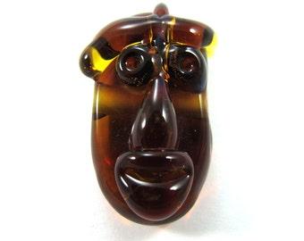 Lampwork bead, Handmade lampwork bead  glass, Lampwork beads, focal, mask amber (1) SRA