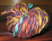 Bright Purple and Rainbow 2ply Handspun Wool Yarn OOAK