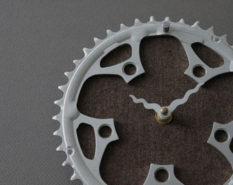 Bicycle Gear Clock - Chestnut Brown | Bike Clock | Wall Clock | Recycled Bike Parts Clock