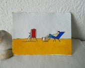 Art Card Sea View Deckchairs on Beach Original Painting ACEO