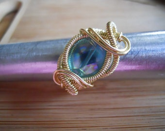Aqua Aura Quartz Coin Bead Wire Wrap Ring Wire Wrapped Jewelry Handmade in Gold Parawire Size 7 1/2
