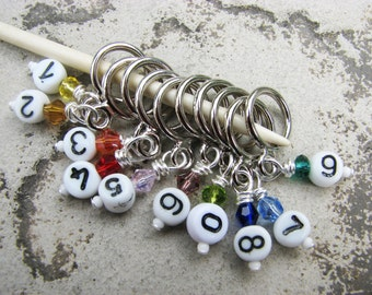 Crystal Rainbow & Numbers Non-Snag Stitch Markers