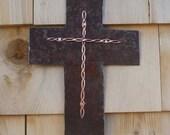 Steel and Copper Cross Art from found objects Folk Art Rusty Cross