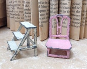 Tootsietoy pink chair and white step ladder