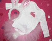 Spring Easter Bunny Rabbit Tutu set Costume Outfit with shirt and Ears for baby or Child