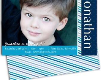 photo Birthday Invitation/Striped Birthday Invitation/Boy Birthday Invitation/Blue Birthday Invitation/Free Background/Print Yourself