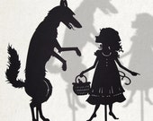 Little Red Cap and the Big Bad Wolf /  Laser cut Shadow Puppets/ Fairy Tale Series