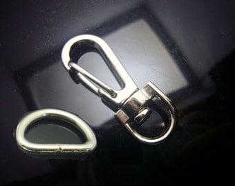 Set of 4 silver toned metal swivel clasp n D Ring hook bag purse making hardware id1310945
