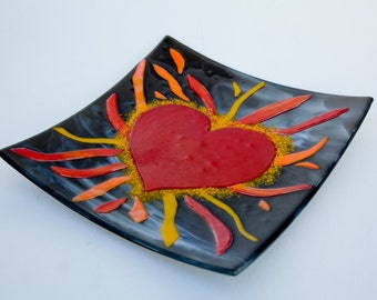 Red, yellow and orange fused glass heart plate  12 x 12