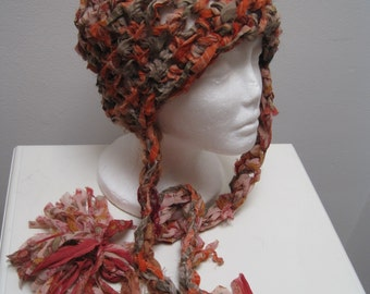 "orange multi-colored crocheted hat with tails, made from upcycled chiffon scraps ""penelope"""