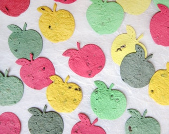 100 Plantable Confetti Apples Flower Seed Paper - Spread the Love Wedding Favors - Teacher Gifts - Hungry Caterpillar Birthday Party Favor