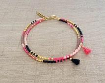 Double Multicolor Tassel Bracelet // Pink, Black & Gold // Cute Multicolor Friendship Bracelet