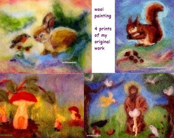 Wool painting pictures for children,  4 prints of my original needle felted art, Waldorf education