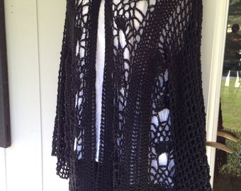 Sweater, Crochet, Cardigan, Women's Fashions, Sweaters, Black. Extra Long (6 pattern repeats)