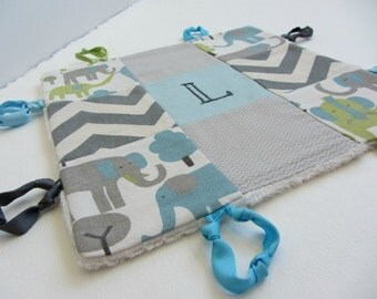 Personalized Baby Boy Lovey with Name or Initial Hand Embroidered ~ Choice of Backing Fabric~Elephants Chevron Herringbone ~Teal Grey Beige