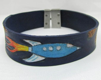 Leather Bracelet/Cuff - Space Journey