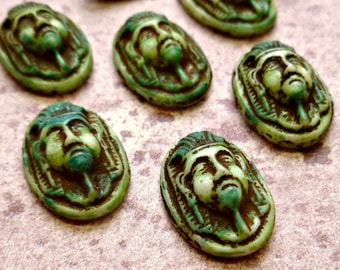 Four Egyptian 16x11mm Vintage German Green Washed Glass Cabs (17-4B-4)