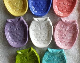 Owl Soap Dish Tea bag holder Trinket Dish  Owl Home Decor