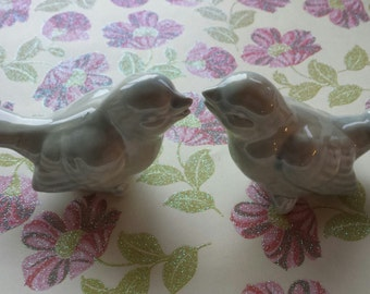 Bird Wedding Cake Topper Vintage Birds Ceramic in Celedon Color Bird Home Decor