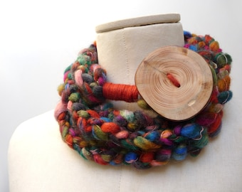 Loop Infinity Scarf Necklace, Crochet Scarflette Neckwarmer - Brown, Rust, Green, Blue, Purple Pink multicolor yarn with giant wood button