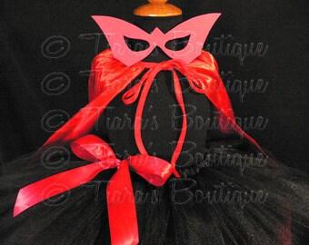 "Super Hero Tutu Costume Set, Black and Red Girls Halloween Costume, 3 Piece Set, Includes Sewn 11"" Pixie Tutu, Mask, and Cape"