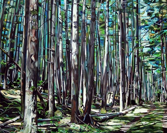 "CANVAS PRINT Galiano Forest Path Painting 12x8"", 18x12"", 24x16"", 30x20"", 36x24"", 42x28"", or 48x32"""