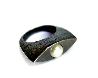 The Tuxedo Ring- Solid Sterling Silver and Pearl Cocktail Ring