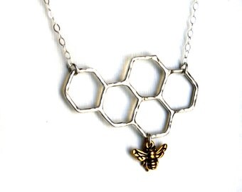 SALE- Sweets for the Sweet- Sterling Silver Honeycomb Necklace by Rachel Pfeffer