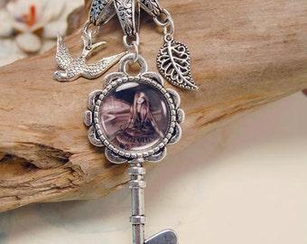 Vampire Charm Necklace Key Charm Gothic Jewelry