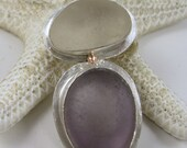 Sea Glass Pendant Frosty White and Lavender Sea Glass Necklace Sea Glass Jewelry - N-296