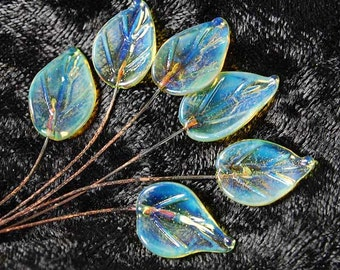 6 Moonstone Leaves Headpins Set,  Glass Head Pins Handmade lampwork glass headpins by Beadfairy Lampwork