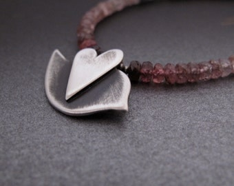 Love Bird necklace -  sterling silver & faceted spinel beads