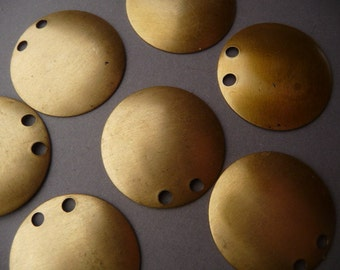 3 Brass Pendant Stamping - Round - Two Holes