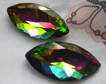 Vivid Vitrail Faceted 32x17mm Navette or Marquise Glass Rhinestones 2 Pcs