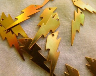 Lightning Bolt Brass Charms 25x7mm 12 Pcs