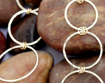 Long Sterling Silver and Gold Hammered circles graduated hoop earrings